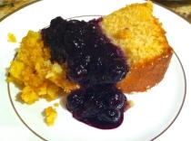 Lemon Polenta Cake with Blueberry Sauce